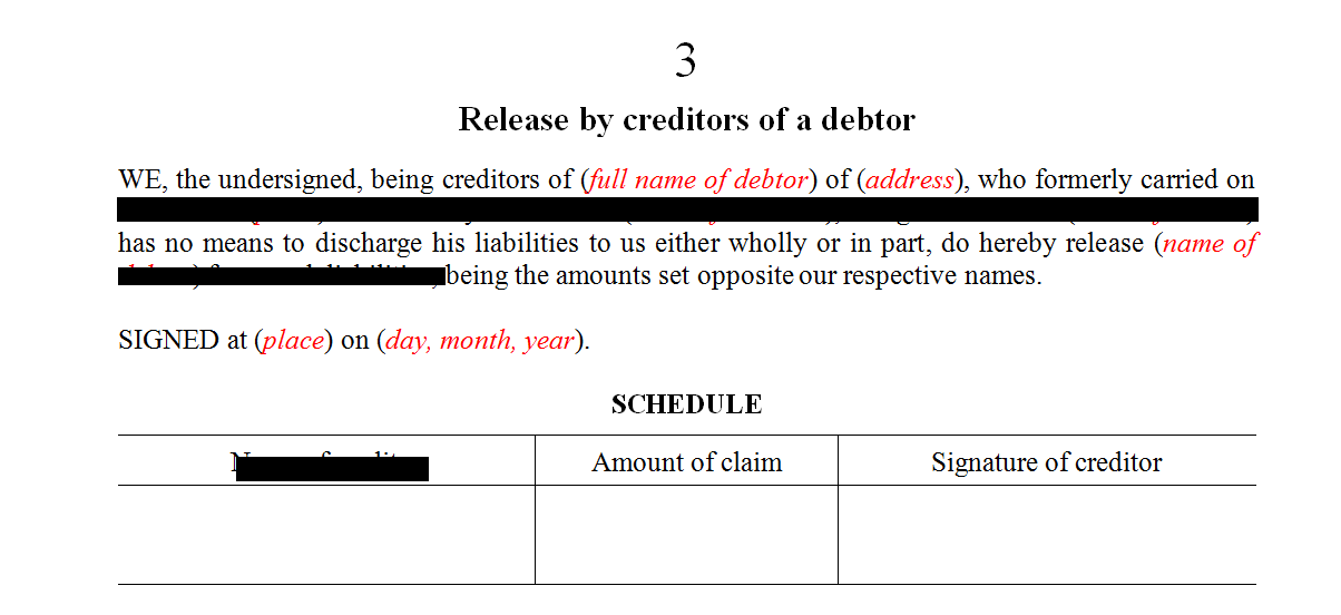 Release by creditors of a debtor