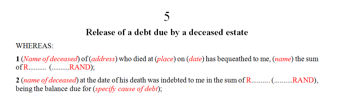 Release of a debt due by a deceased estate
