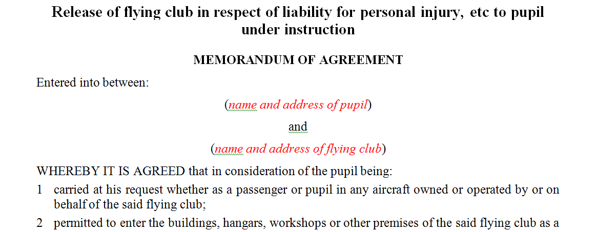 Release of flying club in respect of liability for personal injury, etc to pupil under instruction