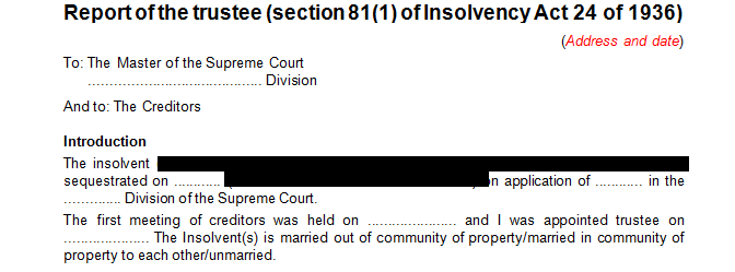 Report of the trustee in terms of s81(1) of the Insolvency Act