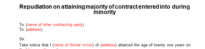 Repudiation on attaining majority of contract entered into during minority