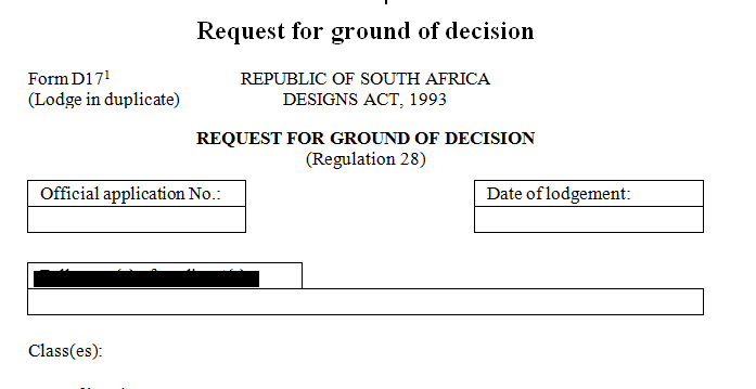 Request for ground of decision