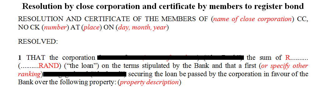 Resolution by close corporation and certificate by members to register bond