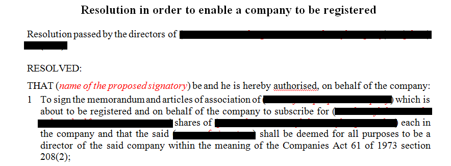 Resolution in order to enable a company to be registered