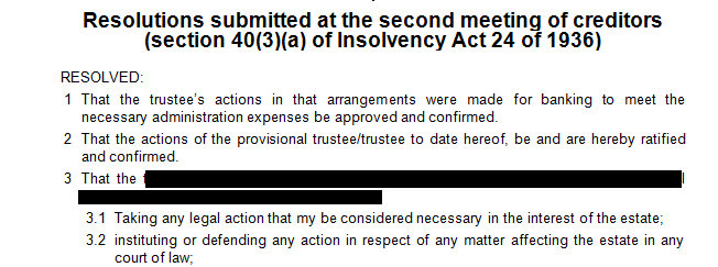 Resolution submitted at the second meeting of the creditors in terms of s40(3)(a) of the Insolvency Act