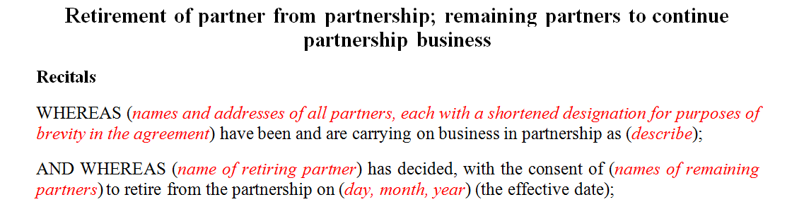 Retirement of partner from partnership remaining partners to continue partnership business