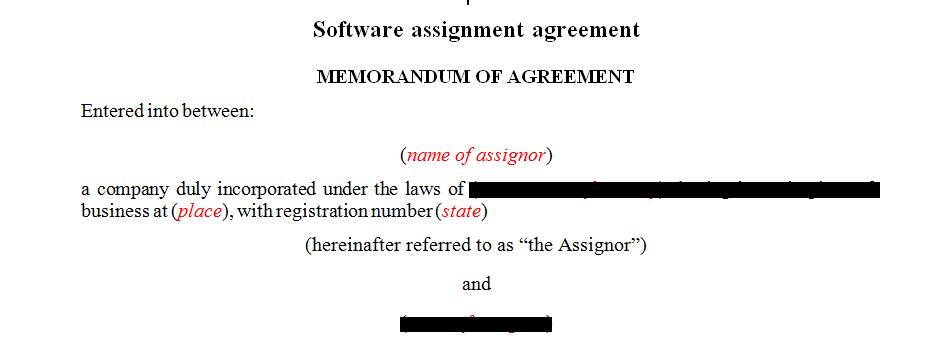 Software assignment agreement