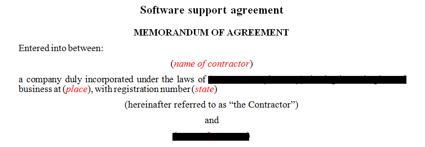 Software support agreement