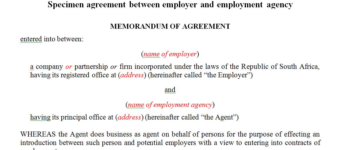 Specimen agreement between employer and employment agency