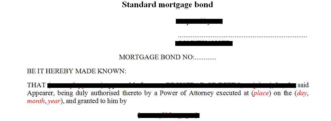 Standard mortgage bond agreement