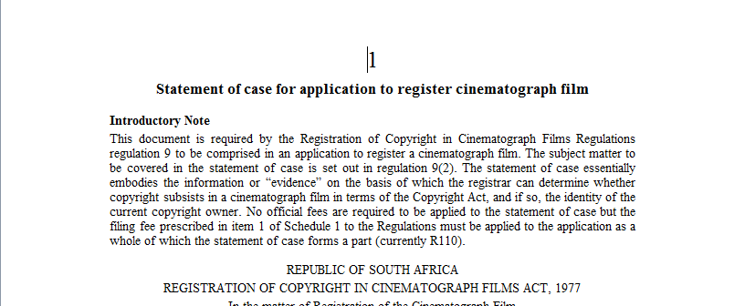 Statement of case for application to register cinematograph film