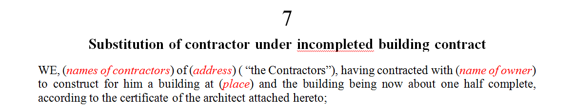 Substitution of contractor under incompleted building contract