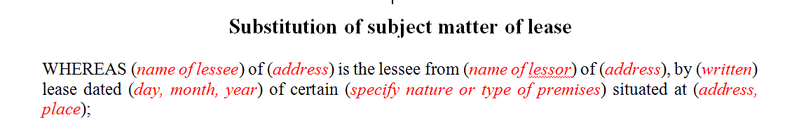 Substitution of subject matter of lease