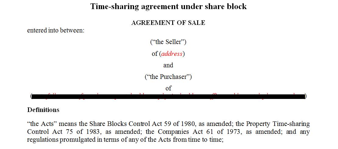 TimeSharing agreement under share block
