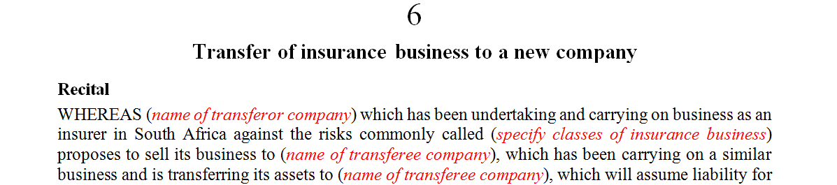 Transfer of insurance business to a new company