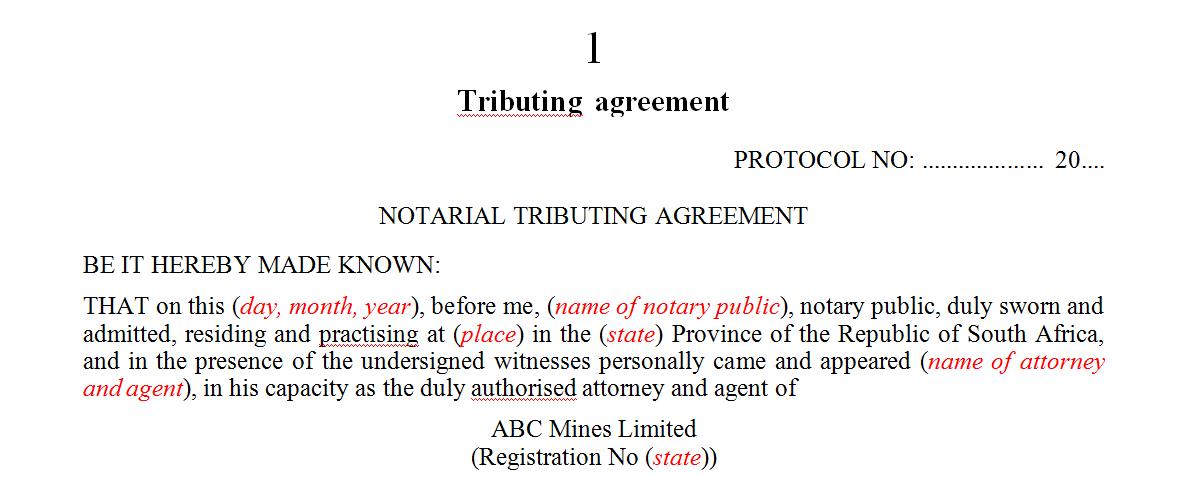 Tributing agreement
