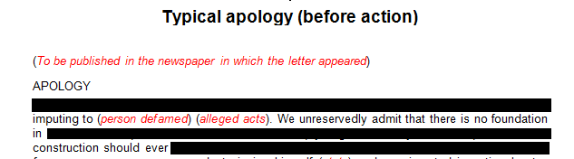 Typical apology to be published in the newspaper in which the letter appeared