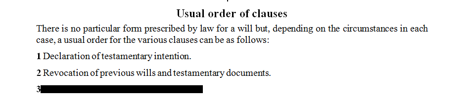 Usual order of clauses