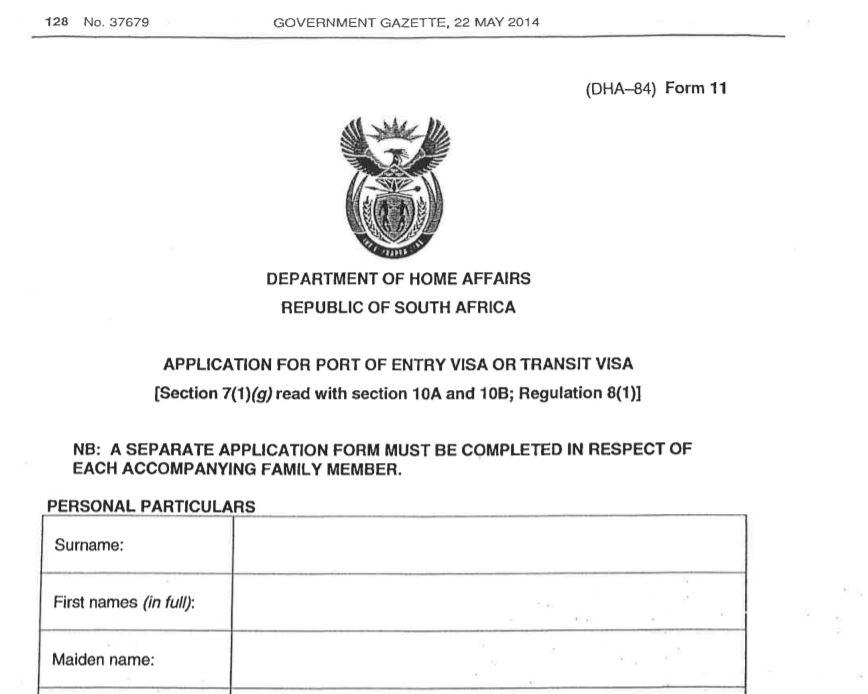 Visitors Visa Application