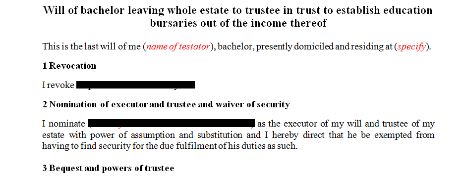 Will of a specific nature or scenario relating to education bursaries