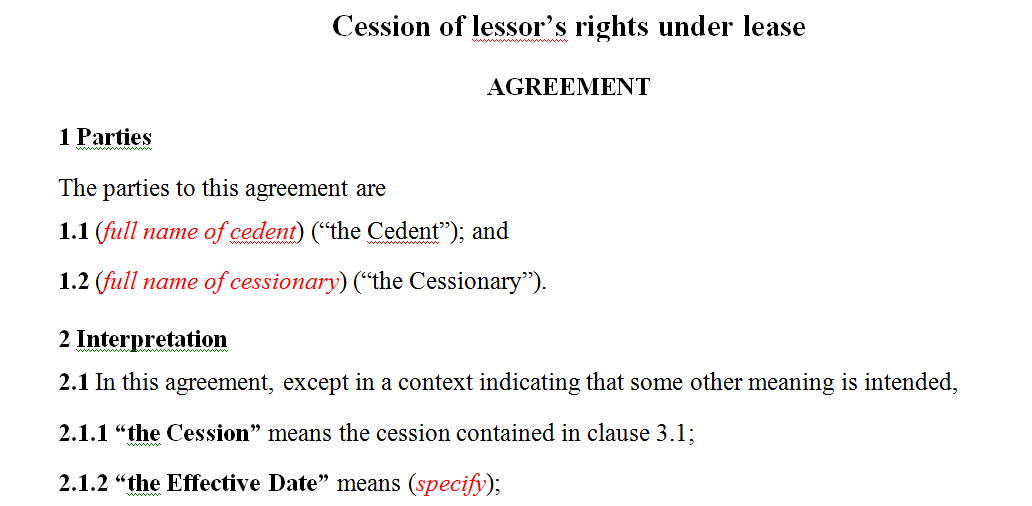 Cession of lessor's rights under lease agreement